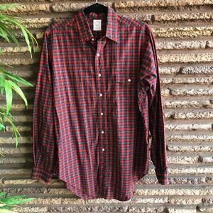Brooks Brothers Vintage Red Plaid Broken in Shirt